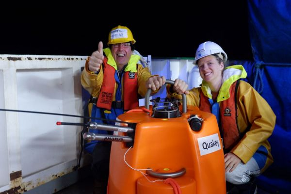 Mick and Janneke delighted to be deploying Quakey at 4 am.